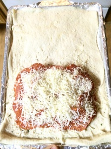 Place another layer of cheese on top of second pepperoni layer.