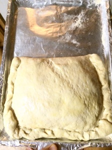 Gently lift dough and fold over all ingredients. Roll lower side of dough up over top side and pinch between fingers like a pie.